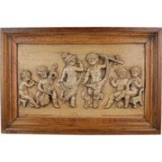 Vintage Carved Wood Panel Bas-Relief Plaque Cherubs Putti Dancing