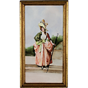 Early 20th C. Hand Painted Porcelain Plaque Woman with Walking Stick Boston