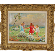 Italian Impressionist Painting Giovanni Panza Girls Playing and Dancing