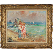 "Italian Impressionist Painting Giovanni Panza ""First Kiss"" Children on Beach"
