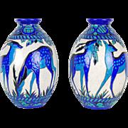 Pair Iconic Art Deco Vases Charles Catteau Stag & Doe Boch Freres Keramis
