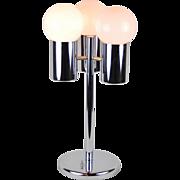 Vintage Mid-century Modern Chrome & White Bubble Lamp 3-Light