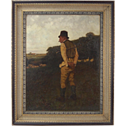 19th C. Oil Painting Irish Shepherd sgnd Barton  after Magrath 'Man of the Period'