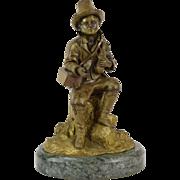 1875 Antique Victorian Era Bronze Beggar Boy in Tattered Clothes w Pet Rat
