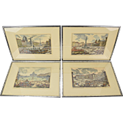 Set 4 Hand Colored Veduta di Roma Series Architectural Engravings after Piranesi