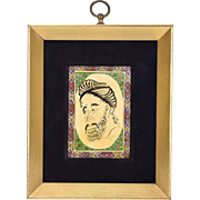 Indo-Persian Optical Illusion Miniature Portrait Man w Beard of Animals