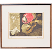 Sunol Alvar L/E Lithograph Woman Playing Guitar to Pair of Mourning Doves