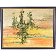 Mid-Century Abstract Landscape Oil Painting Jim Simmons Taos New Mexico