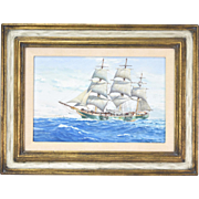 "Charles Rosner ""The Little Full Rigged Ship Joseph Conrad"" Watercolor Painting"