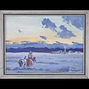 Vintage Oil Painting Horse & Rider at Dusk New Mexico artist Arthur Merrill