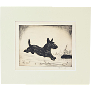 Vintage 1930's Etching of Scotty Dog Leaping Signed Allan Spencer