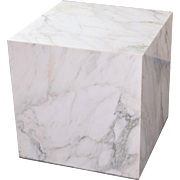 Vintage Mid-Century Modern Figured Marble End Table Display Cube