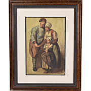 19th Century Watercolor Painting French Peasant Family Mom Dad w Daughter