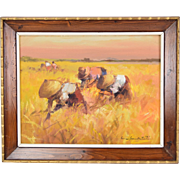 1967 Impressionist Oil Painting Rice Paddy Farmers Cesar Buenaventura Philippines