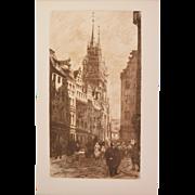 Frank Milton Armington - A Street in Nuremberg 1912 Etching Gazette des Beaux Arts