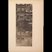 """Albert Baertsoen - Reflections """"Reflets"""" 1909 Etching Gazette des Beaux Arts"""