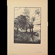 """Paul Baudier - Landscape Loiret """"Paysage du Loiret"""" 1920 Wood Engraving Beaux Arts"""