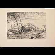 """Adolphe Beaufrere - Harbour Road """"Le Chemin Du Port"""" Etching Gazette des Beaux Arts"""