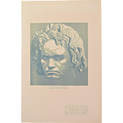 Jacques Beltrand - Beethoven 1907 Wood Engraving  Gazette des Beaux Arts