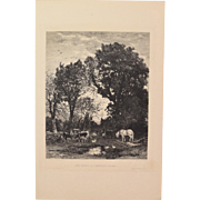 Camille Bernier - A Farm in Bannalec 1876 Etching Gazette des Beaux Arts