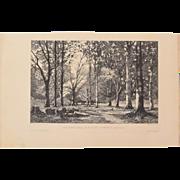 Camille Bernier - Sabotiers dans le bois de Quimerc'h 1877 Etching Beaux Arts