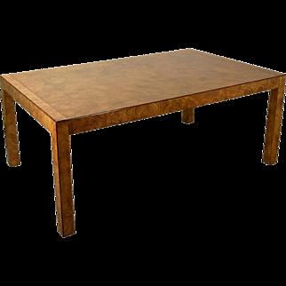 John Widdicomb Mid-Century Modern Burled Wood Parsons Dining Table w 2 Leaves