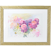 Original Watercolor Floral Still Life w Butterfly Illinois Artist Laureate Kay Smith