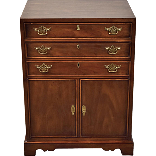 Vintage Walnut Chippendale Style Drexel Heritage Silver Chest of Drawers Cabinet