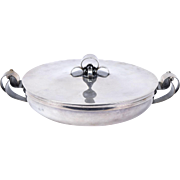 Vintage Danish Modern Silverplate Covered Dish with Applied Handles and Lid