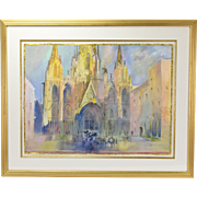 Watercolor Painting Nuns at Barcelona Cathedral Illinois Laureate Kay Smith
