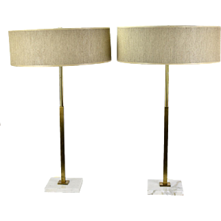 Pair of Mid-Century Modern Stiffel Table Lamps Brass with White Marble Bases