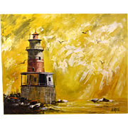 Huge 1970's Lee Reynolds Vanguard Studios Oil Paintings Lighthouse w Seagulls