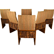 Set of Six Mid-Century Modern Lane Brutalist Dining Chairs