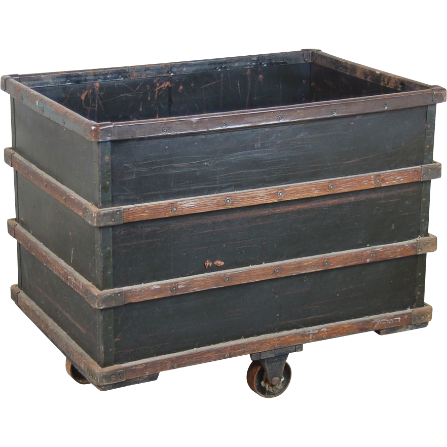 vintage industrial salvage rolling dump bin from textile factory   colin reed art  u0026 antiques