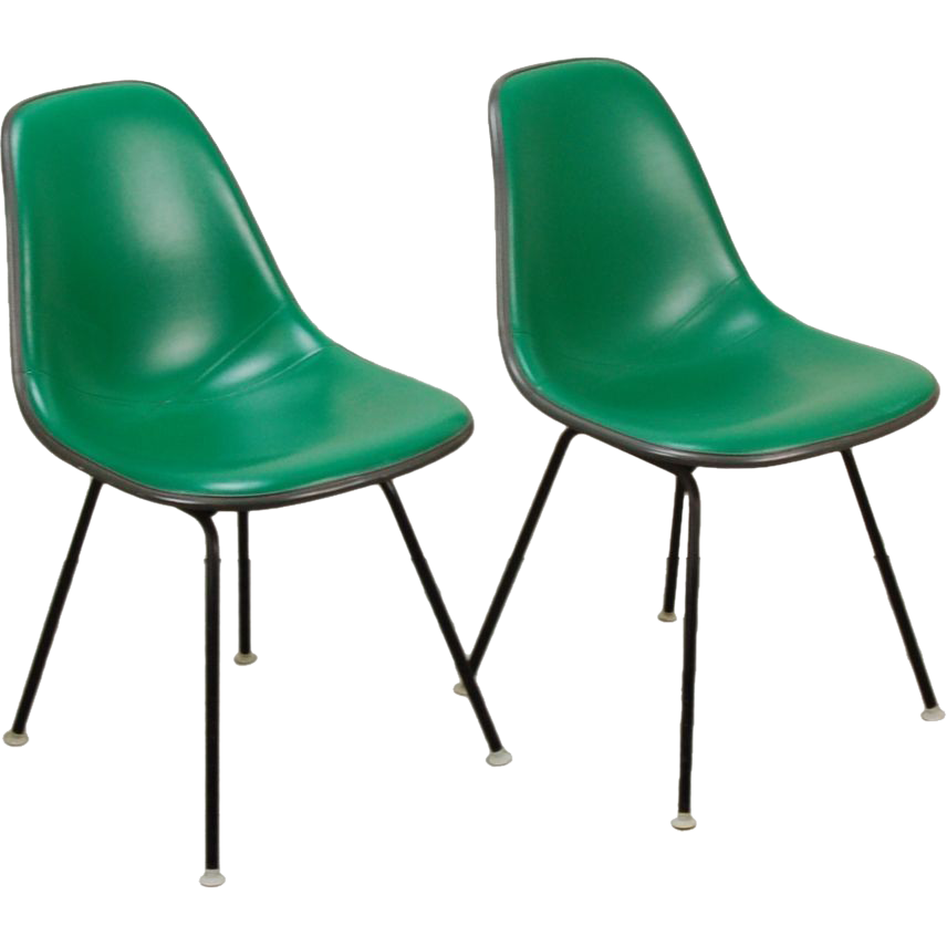 pair original herman miller eames molded plastic side chair from