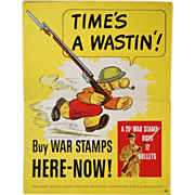 "Original Vintage Snuffy Smith ""Time's a Wastin'!""  War Stamps Poster"
