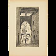 """HENRI PAILLARD Etching """"Une rue à Alger"""" A Street in Algiers 1913"""