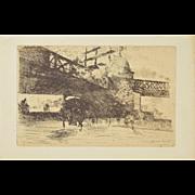 GIUSEPPE DE NITTIS Impressionist Etching – Vue prise à Londres, 1884