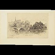 1892 Frank Laing Original Etching Le Pont-Neuf Paris