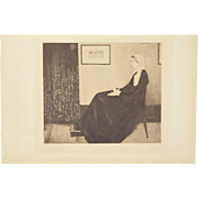 "1883 James McNeill Whistler Etching ""Portrait de ma Mere"" Whistler's Mother"