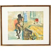 1967 Mid-Century Modern Painting Abstract Nude by Banish Chicago Artist
