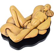 1970's Original Reclining Nude Erotic Sculpture Signed J. Leach