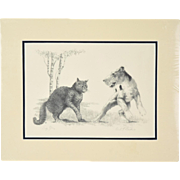 "1931 Original Etching Cat & Wire Fox Terrier Dog Fight ""Sez You"" sgnd Victor Becker"