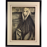 "French Mid-Century Surrealist Charcoal Drawing ""Veronica with the Face of Christ"""