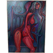 Large 1967 Abstract Nude Woman Oil Painting Chicago Artist Jim Pink