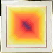 """1975 """"SOG V"""" Jurgen Peters OP Art Limited Edition Serigraph Signed #'d"""