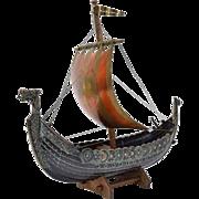 Vintage Bronze Metal Viking Long Boat attr Edward Aagaard Denmark