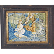 Antique Castelli Italian Majolica Faience Plaque Nude Susanna & the Elders