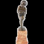 German Art Nouveau Bronze Sculpture Boy w Fur Muff Sgnd Caasmann