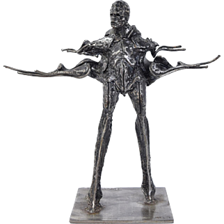 Ted Gall Surrealist Fantasy Bald Mutant Man w Cape Steel Sculpture